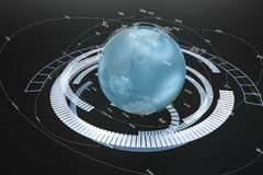 rendu 3d, donn?es et graphiques de la terre avec des ?l?ments de HUD illustration de vecteur