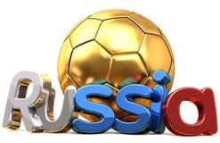 Rendu d'or du football 3d du football de la Russie Photographie stock libre de droits