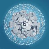 rendu 3D du prisme hexagonal blanc Fond de la science fiction Sphère abstraite dans l'espace vide Photos stock