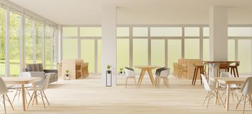 rendu 3d, espace de Co-travail, endroit vide, mur blanc et plancher en bois images stock