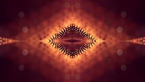 rendu 3d, fond de la science-fiction des particules rougeoyantes avec la profondeur du champ et bokeh Ligne de forme de particule Image libre de droits
