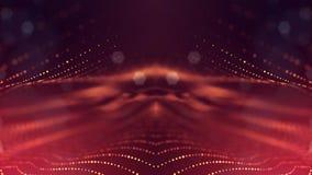rendu 3d, fond de la science-fiction des particules rougeoyantes avec la profondeur du champ et bokeh Ligne de forme de particule Photos libres de droits