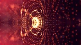 rendu 3d, fond de la science-fiction des particules rougeoyantes avec la profondeur du champ et bokeh Ligne de forme de particule Images stock