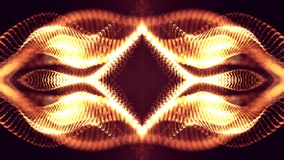 rendu 3d, fond de la science-fiction des particules rougeoyantes avec la profondeur du champ et bokeh Ligne de forme de particule Photos stock