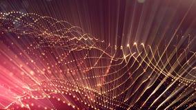 rendu 3d, fond de la science-fiction des particules rougeoyantes avec la profondeur du champ et bokeh Ligne de forme de particule Photographie stock
