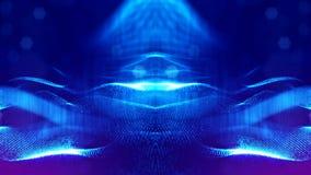 rendu 3d, fond de la science-fiction des particules rougeoyantes avec la profondeur du champ et bokeh Ligne de forme de particule Images libres de droits