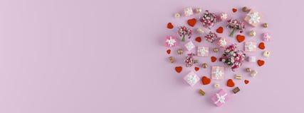 rendu 3d forme d'un coeur avec un bon nombre de présents la fleur de jour donne à des mères le fils de momie à Photos stock
