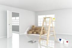 rendu 3D : illustration d'échelle de réparation pour le peintre de la peinture de mur décoration votre concept à la maison rempla Photos libres de droits