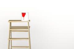 rendu 3D : illustration d'échelle de réparation pour le peintre de la peinture de mur décoration votre concept à la maison rempla Photographie stock