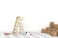 rendu 3D : illustration d'échelle de réparation pour le peintre de la peinture de mur décoration votre concept à la maison rempla Image stock