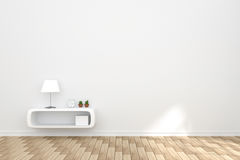 rendu 3D : illustration d'intérieur confortable de salon avec les étagères à livres blanches contre le mur blanc mat et le planch Photographie stock