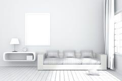 rendu 3D : illustration d'intérieur confortable de salon avec les étagères à livres blanches et de meubles blancs de sofa contre  Image stock