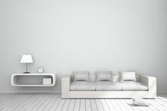 rendu 3D : illustration d'intérieur confortable de salon avec les étagères à livres blanches et de meubles blancs de sofa contre  Photographie stock libre de droits