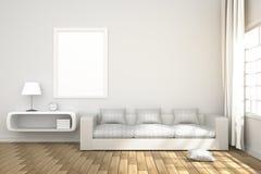 rendu 3D : illustration d'intérieur confortable de salon avec les étagères à livres blanches et de meubles blancs de sofa contre  Photo libre de droits