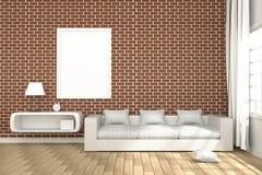 rendu 3D : illustration d'intérieur confortable de salon avec les étagères à livres blanches et de meubles blancs de sofa contre  Photo stock