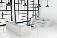 rendu 3D : illustration de la conception intérieure blanche du grand salon Photographie stock