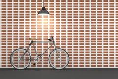 rendu 3D : illustration de rétro bicyclette et de lampe de vintage accrochant sur le toit contre du mur de briques rouge Fond Images stock