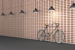 rendu 3D : illustration de rétro bicyclette et de lampe de vintage accrochant sur le toit contre du mur de briques rouge Fond hip Photo stock