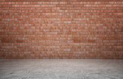 Rendu d'intérieur avec le mur de briques rouge et le plancher en béton Images stock