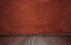 Rendu d'intérieur avec le mur en béton rouge et le plancher en bois photo stock