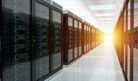 Rendu 3D intérieur de centre de traitement des données de pièce de serveur Image stock