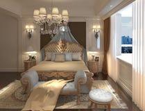Rendu 3D intérieur de chambre à coucher Photo libre de droits