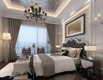 Rendu 3D intérieur de chambre à coucher Photos stock