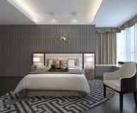 Rendu 3D intérieur de chambre à coucher Images stock