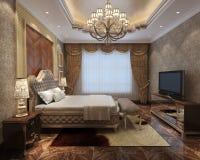 Rendu 3D intérieur de chambre à coucher Image stock