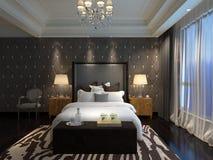 Rendu 3D intérieur de chambre à coucher Images libres de droits