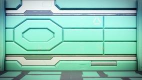 Rendu 3d intérieur de couloir de station spatiale de la science fiction illustration stock