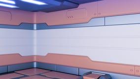 Rendu 3d intérieur de couloir de station spatiale de la science fiction illustration libre de droits