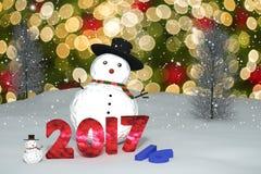 rendu 3D : 2016-2017 le changement représente le nombre léger de bokeh et la poupée d'homme de neige sur la lumière de scintillem illustration stock