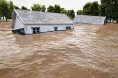 rendu 3d maisons d'inondation Photos libres de droits