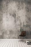 rendu 3D : Mur nu de ciment avec la chaise moderne Photos stock