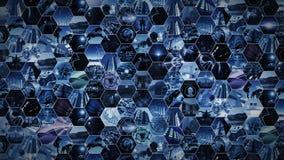 rendu 3d Mur visuel futuriste dans le modèle de nid d'abeilles Image stock