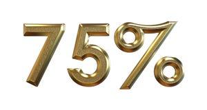 rendu 3d Pourcentages d'or sur un fond blanc Photos stock