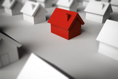rendu 3D trouvant une maison à vendre Photographie stock libre de droits