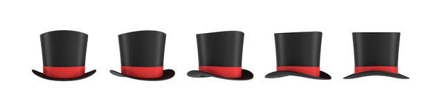 rendu 3d d'un ensemble de plusieurs chapeaux noirs du ` s de magicien avec une rayure rouge dans différentes vues de côté illustration de vecteur