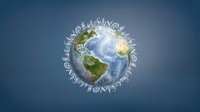 rendu 3d d'un globe de la terre avec les dessins blancs courts de la flore partout dans son bord contrairement à un fond bleu Photographie stock