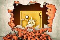 rendu 3d d'un grand coffre-fort d'or vu un trou énorme dans un mur de briques plâtré images stock