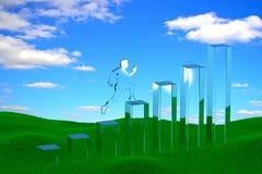 rendu 3d d'un histogramme linéaire de croissance de verre avec un homme courant  illustration stock