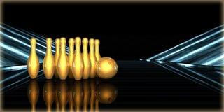 rendu 3d d'un objet d'or à l'intérieur d'une route futuriste Image stock