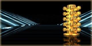 rendu 3d d'un objet d'or à l'intérieur d'une route futuriste Images libres de droits