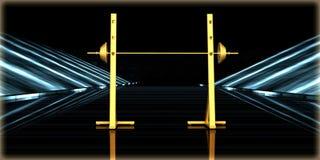 rendu 3d d'un objet d'or à l'intérieur d'une route futuriste Photos stock