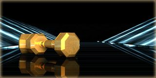 rendu 3d d'un objet d'or à l'intérieur d'une route futuriste Images stock