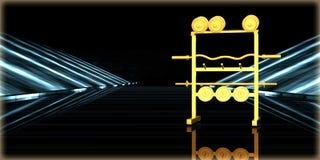 rendu 3d d'un objet d'or à l'intérieur d'une route futuriste Photographie stock