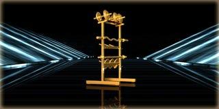 rendu 3d d'un objet d'or à l'intérieur d'une route futuriste Photos libres de droits