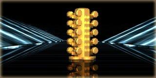 rendu 3d d'un objet d'or à l'intérieur d'une route futuriste Image libre de droits