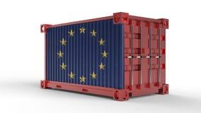 rendu 3d d'un récipient de cargaison d'expédition avec le drapeau d'Union européenne illustration de vecteur